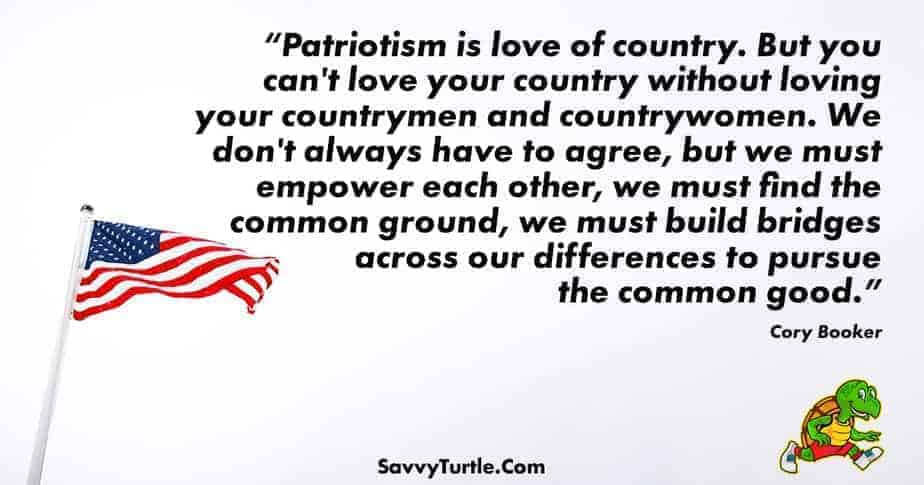 Patriotism is love of country But you cant love