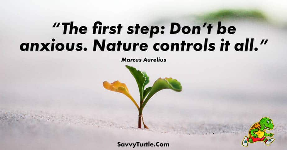 The first step Dont be anxious Nature controls it all