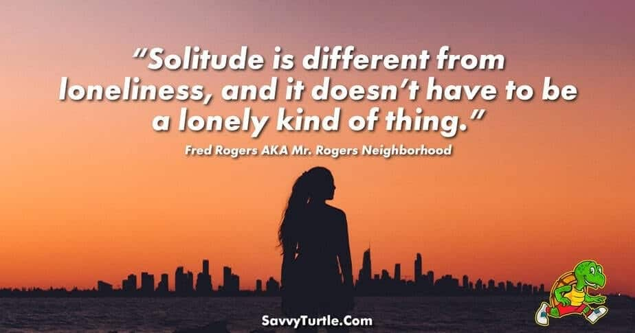 Solitude is different from loneliness