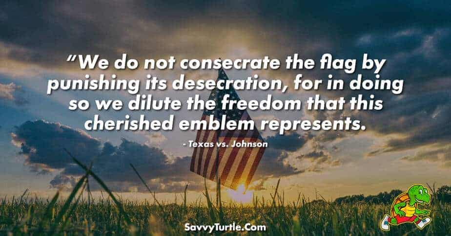 We do not consecrate the flag by punishing its desecration
