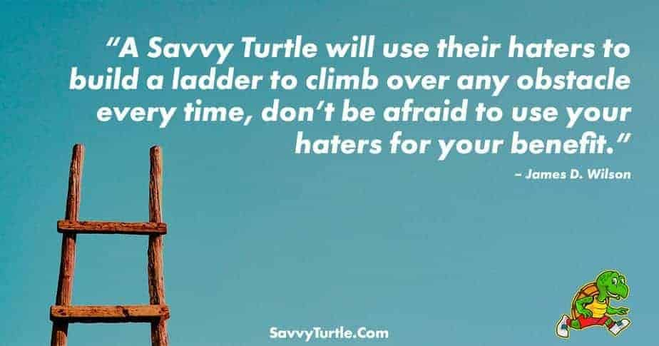A Savvy Turtle will use their haters to build a ladder