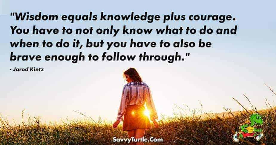 Wisdom equals knowledge plus courage