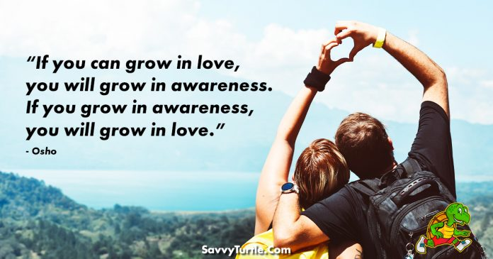 If you can grow in love you will grow in awareness