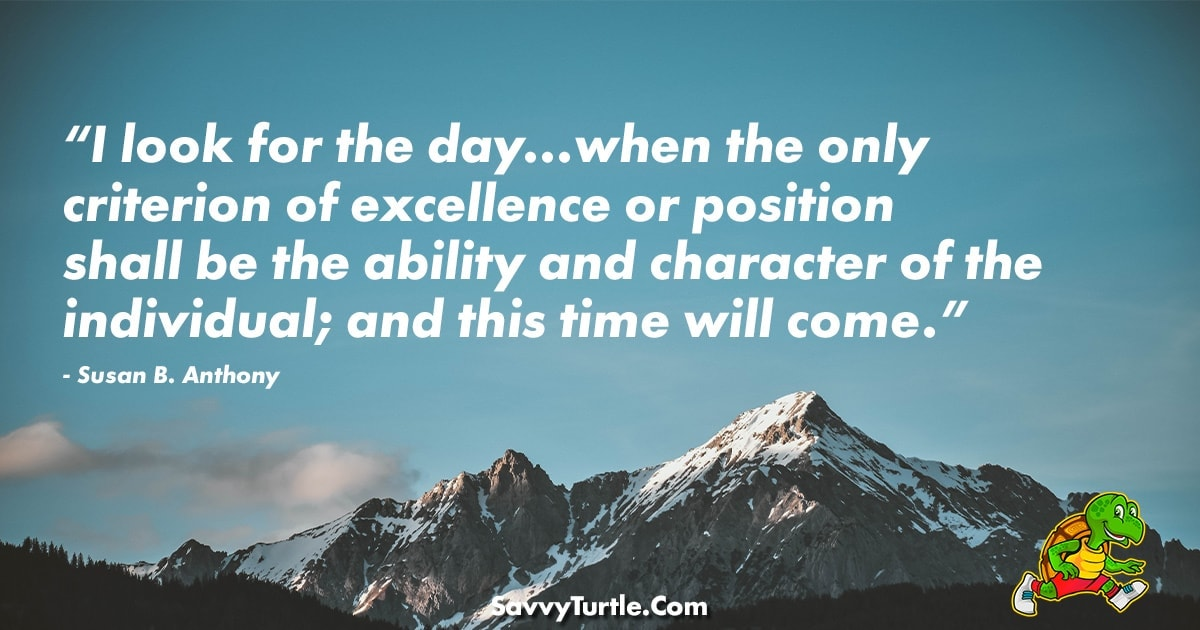 I look for the day when the only criterion of excellence
